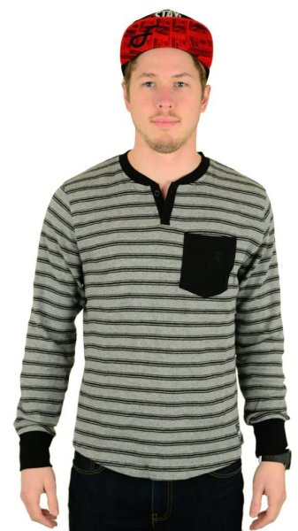 Chain Gang Henley Heather Grey / Black Größe: S