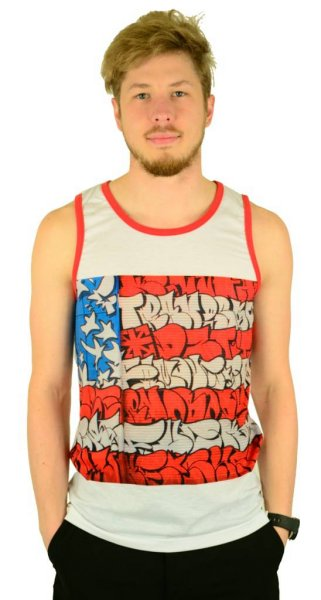 Slick Flag Tank Top White/Red