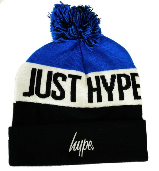 Just Hype Stripe Pom Beanie Navy/Multi